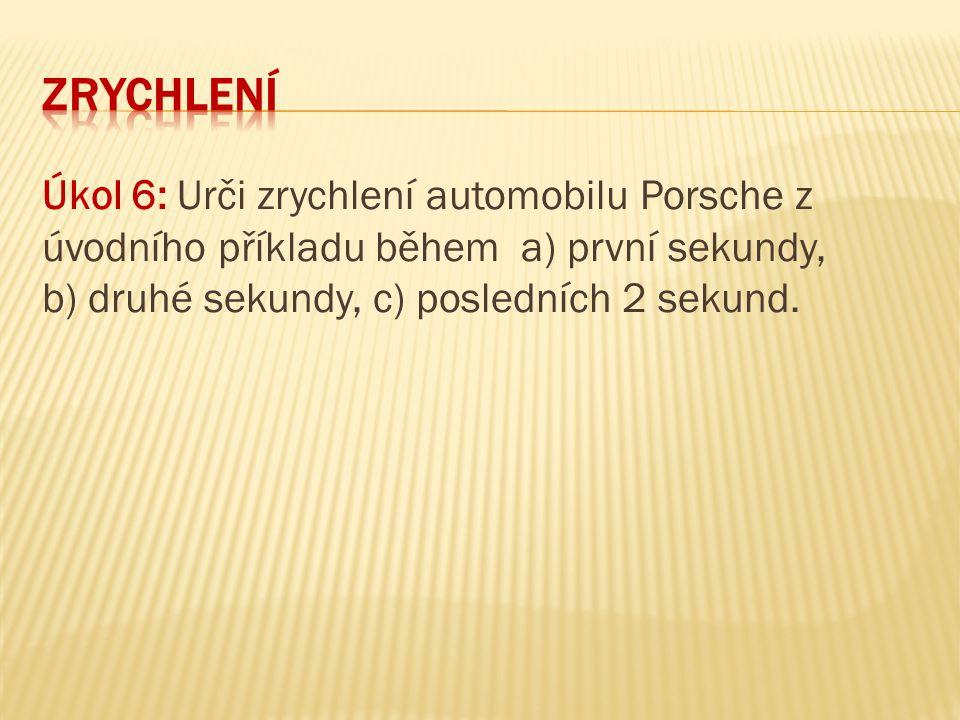 Úkol 6: Urči zrychlení automobilu Porsche z úvodního příkladu během a) první sekundy, b) druhé sekundy, c) posledních 2 sekund.