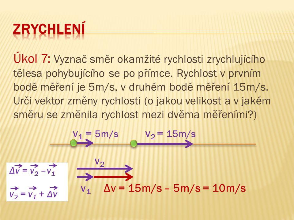 Úkol 7: Vyznač směr okamžité rychlosti zrychlujícího tělesa pohybujícího se po přímce. Rychlost v prvním bodě měření je 5m/s, v druhém bodě měření 15m