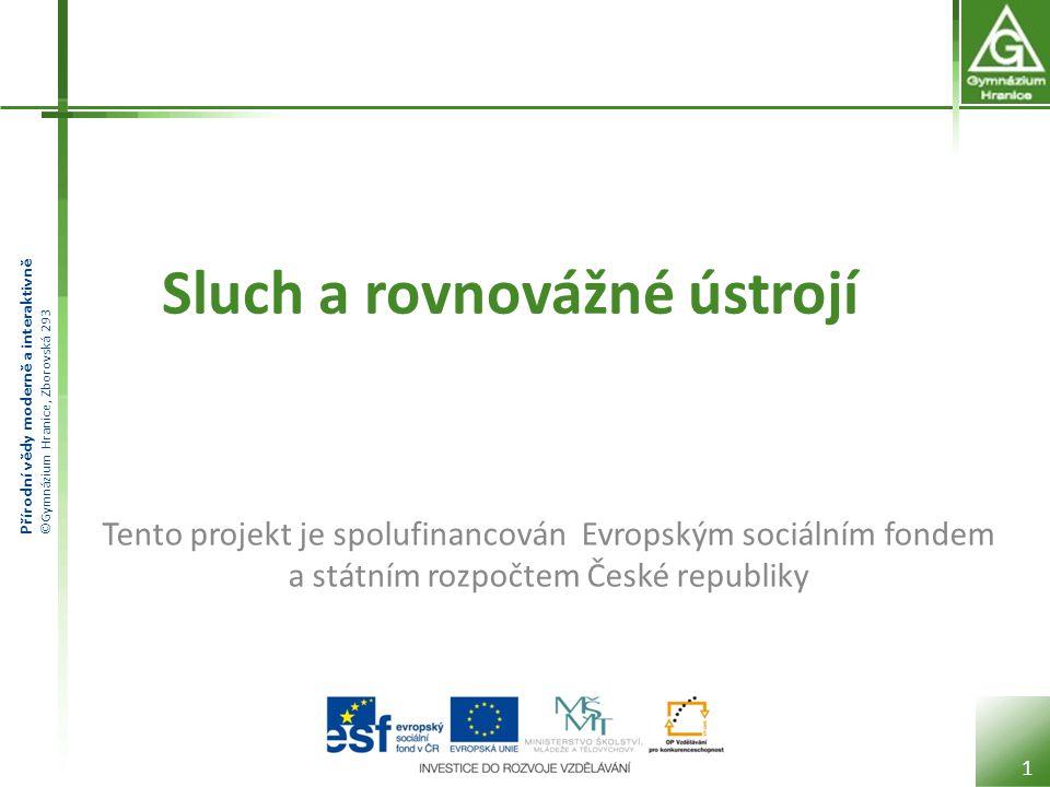 Přírodní vědy moderně a interaktivně ©Gymnázium Hranice, Zborovská 293 Sluch a rovnovážné ústrojí 1 Tento projekt je spolufinancován Evropským sociáln