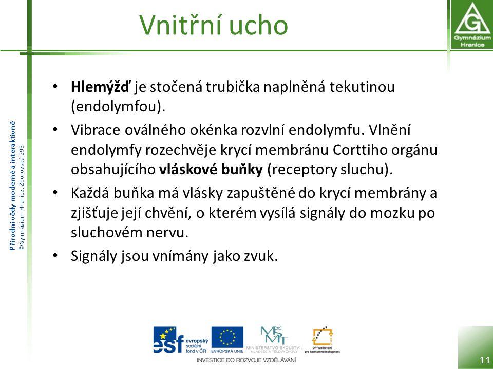 Přírodní vědy moderně a interaktivně ©Gymnázium Hranice, Zborovská 293 Vnitřní ucho Hlemýžď je stočená trubička naplněná tekutinou (endolymfou). Vibra