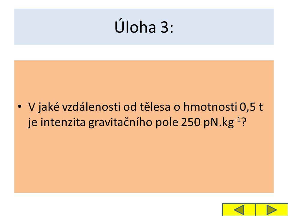 Řešení 3. úlohy: Daná intenzita bude ve vzdálenosti 11,5 m.