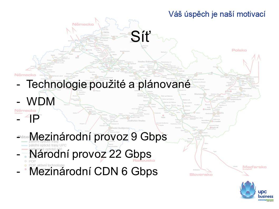 Síť - Technologie použité a plánované - WDM -IP -Mezinárodní provoz 9 Gbps -Národní provoz 22 Gbps -Mezinárodní CDN 6 Gbps