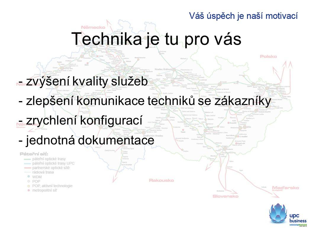 Technika je tu pro vás - zvýšení kvality služeb - zlepšení komunikace techniků se zákazníky - zrychlení konfigurací - jednotná dokumentace