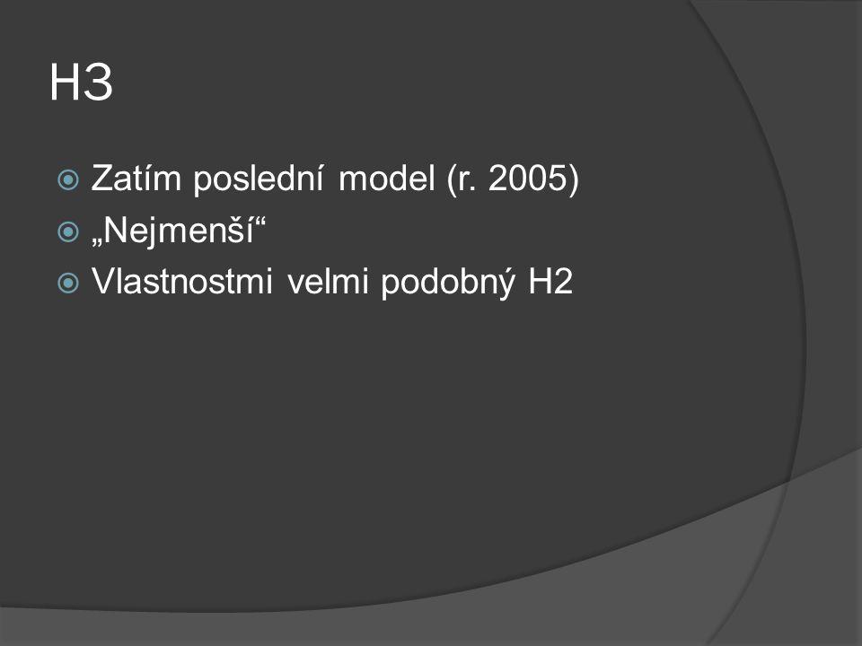 """H3  Zatím poslední model (r. 2005)  """"Nejmenší""""  Vlastnostmi velmi podobný H2"""