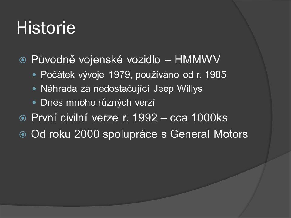 Historie  Původně vojenské vozidlo – HMMWV Počátek vývoje 1979, používáno od r. 1985 Náhrada za nedostačující Jeep Willys Dnes mnoho různých verzí 