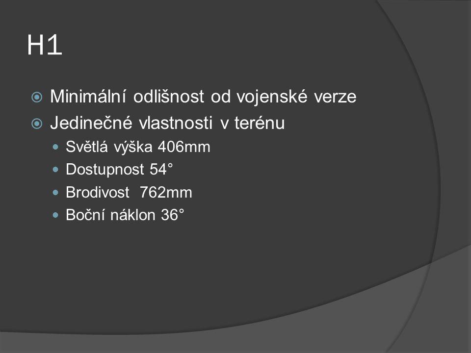 H1  Minimální odlišnost od vojenské verze  Jedinečné vlastnosti v terénu Světlá výška 406mm Dostupnost 54° Brodivost 762mm Boční náklon 36°