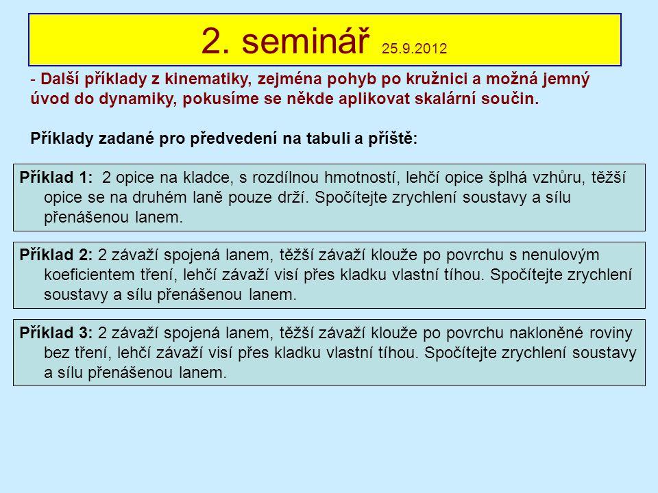 2. seminář 25.9.2012 - Další příklady z kinematiky, zejména pohyb po kružnici a možná jemný úvod do dynamiky, pokusíme se někde aplikovat skalární sou