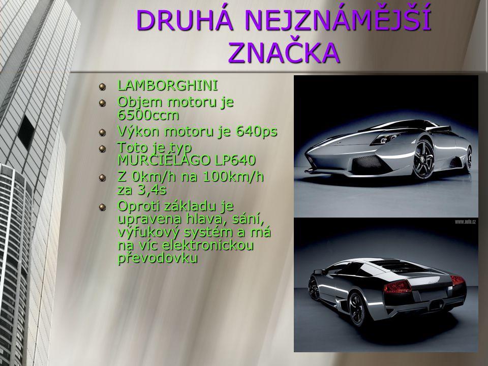VELMI ZNÁMÁ ZNAČKA PORSCHE Objem motoru 4800ccm Výkon motoru 300ps Model auta PANAMERA Základní verze stojí nějakých 70500 euro Dvoj spojková převodovka Spotřeba je 9,3l na 100km
