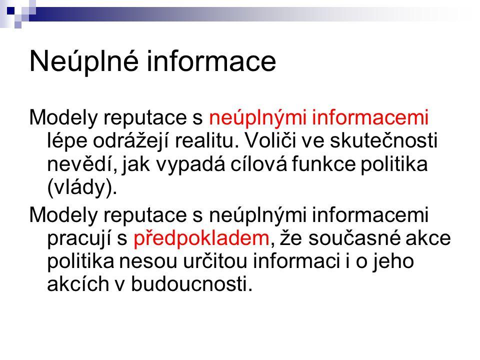Neúplné informace Modely reputace s neúplnými informacemi lépe odrážejí realitu.