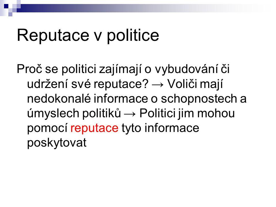 Reputace v politice Proč se politici zajímají o vybudování či udržení své reputace.