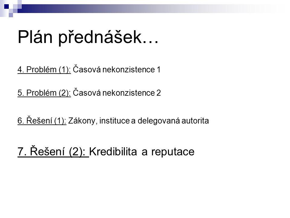 Plán přednášek… 4.Problém (1): Časová nekonzistence 1 5.