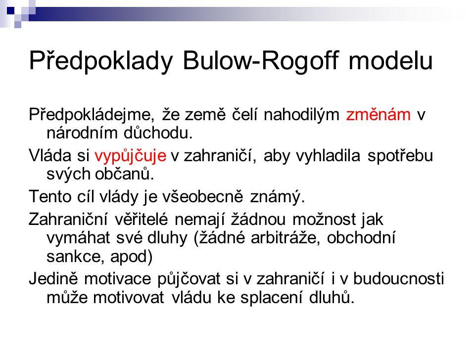 Předpoklady Bulow-Rogoff modelu Předpokládejme, že země čelí nahodilým změnám v národním důchodu.
