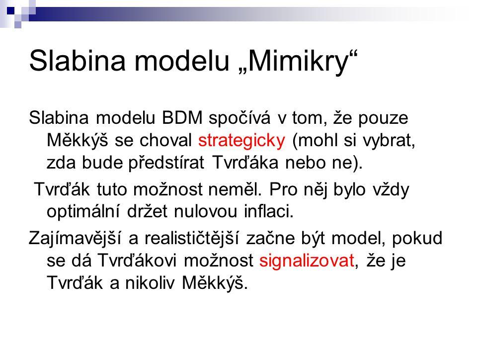 """Slabina modelu """"Mimikry Slabina modelu BDM spočívá v tom, že pouze Měkkýš se choval strategicky (mohl si vybrat, zda bude předstírat Tvrďáka nebo ne)."""