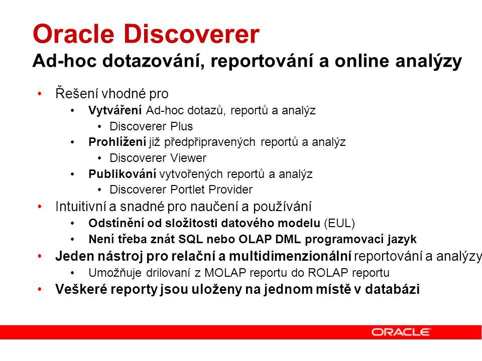 Oracle Discoverer Ad-hoc dotazování, reportování a online analýzy Řešení vhodné pro Vytváření Ad-hoc dotazů, reportů a analýz Discoverer Plus Prohlíže