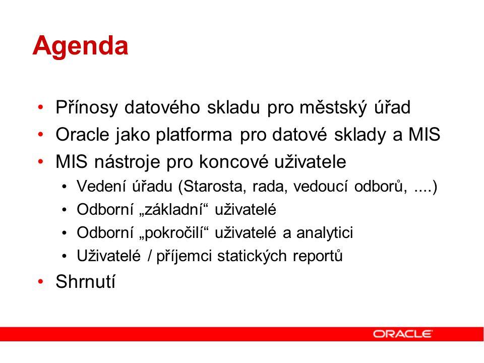 Agenda Přínosy datového skladu pro městský úřad Oracle jako platforma pro datové sklady a MIS MIS nástroje pro koncové uživatele Vedení úřadu (Starost