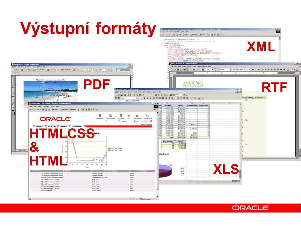 Výstupní formáty XML RTF PDF XLS HTMLCSS & HTML