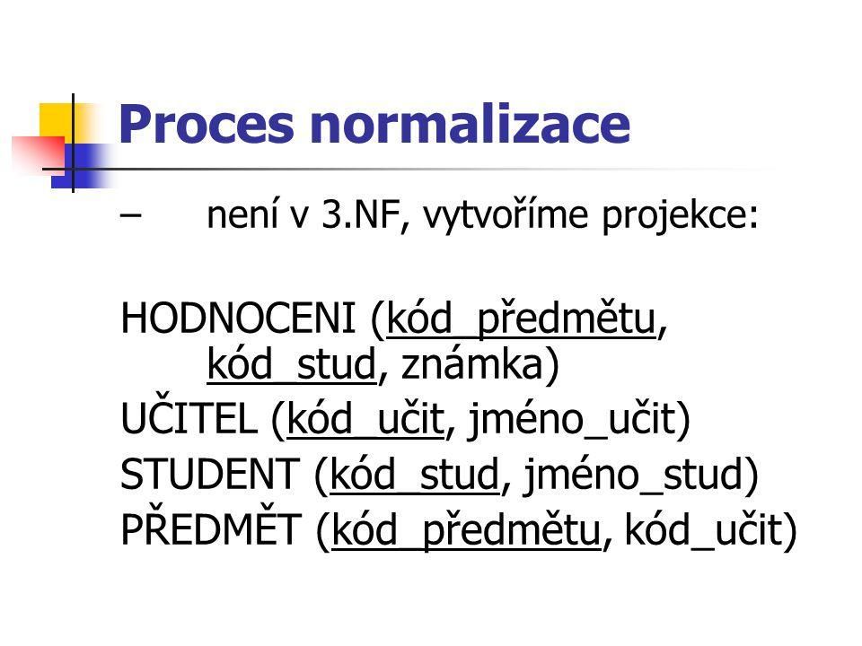 Proces normalizace – není v 3.NF, vytvoříme projekce: HODNOCENI (kód_předmětu, kód_stud, známka) UČITEL (kód_učit, jméno_učit) STUDENT (kód_stud, jméno_stud) PŘEDMĚT (kód_předmětu, kód_učit)