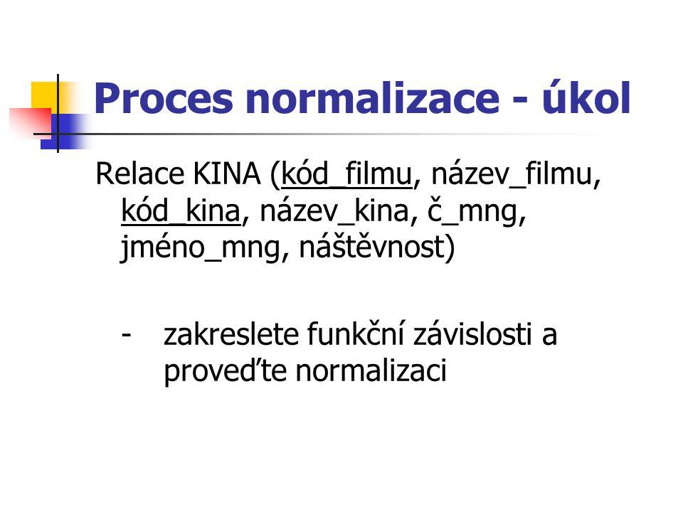 Proces normalizace - úkol Relace KINA (kód_filmu, název_filmu, kód_kina, název_kina, č_mng, jméno_mng, náštěvnost) - zakreslete funkční závislosti a proveďte normalizaci