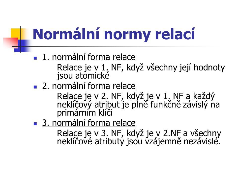 Normální normy relací 1.normální forma relace Relace je v 1.