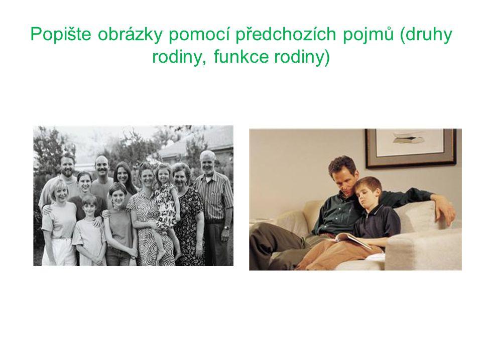 Funkce rodiny Rodina plní tři základní funkce: Biologicko- reprodukční Výchovnou Ekonomickou Které funkce ilustruje obrázek.