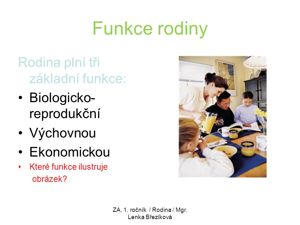 Funkce rodiny Rodina plní tři základní funkce: Biologicko- reprodukční Výchovnou Ekonomickou Které funkce ilustruje obrázek? ZA, 1. ročník / Rodina /