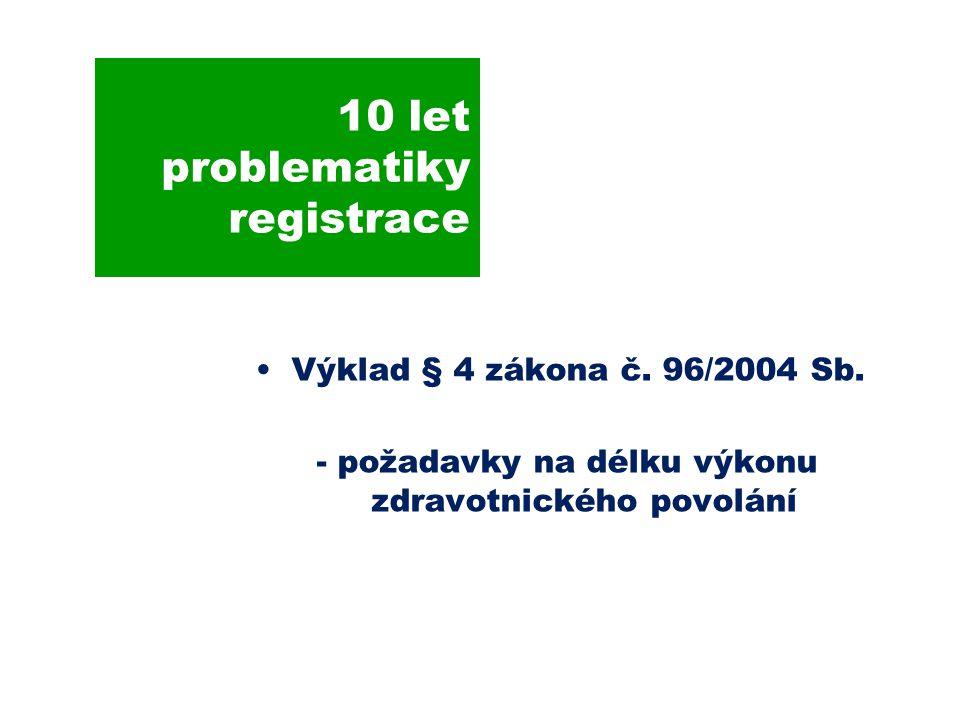 10 let problematiky registrace Výklad § 4 zákona č.