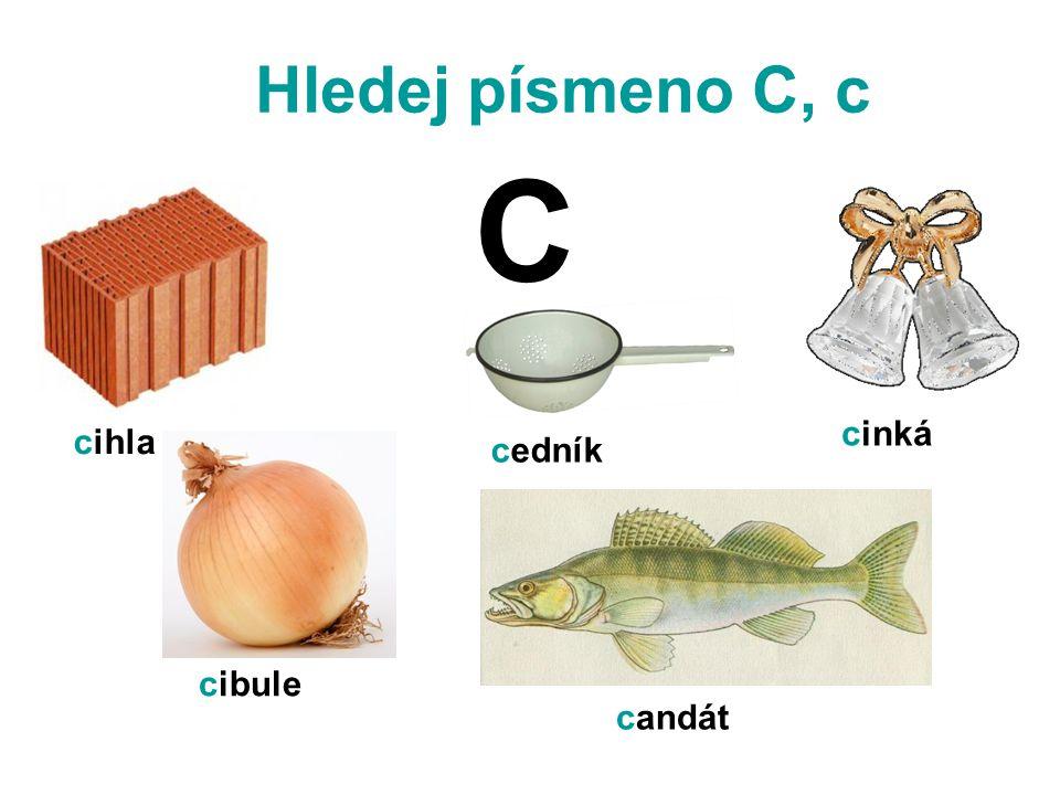 Hledej písmeno C, c cibule cihla cedník cinká candát C