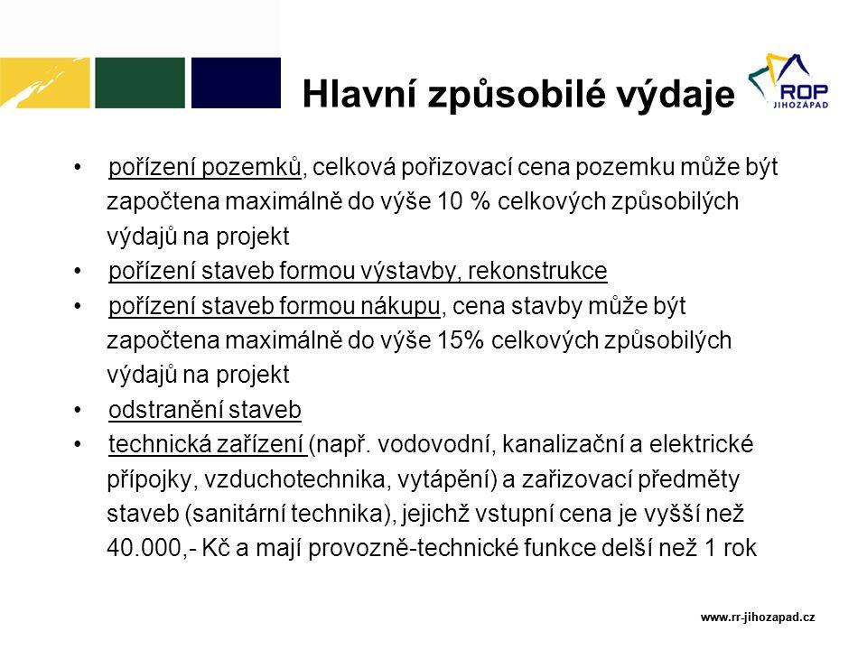 www.rr-jihozapad.cz www.rr-jihozapad.cz pořízení pozemků, celková pořizovací cena pozemku může být započtena maximálně do výše 10 % celkových způsobil