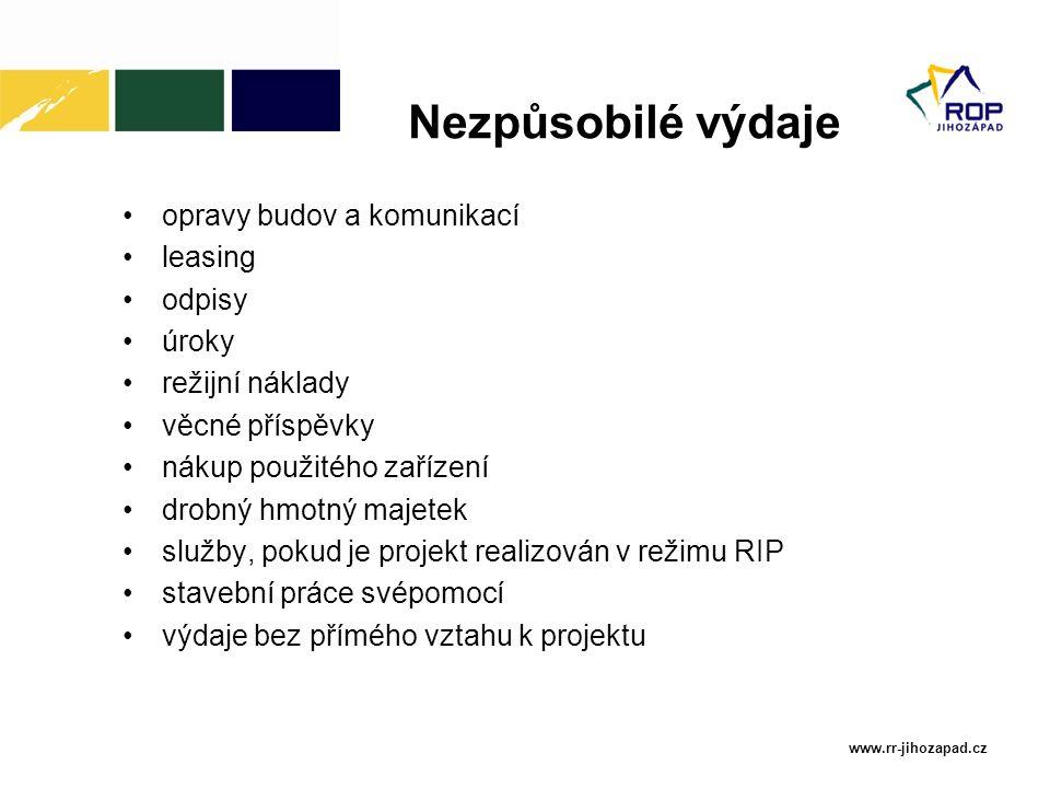 www.rr-jihozapad.cz opravy budov a komunikací leasing odpisy úroky režijní náklady věcné příspěvky nákup použitého zařízení drobný hmotný majetek služ