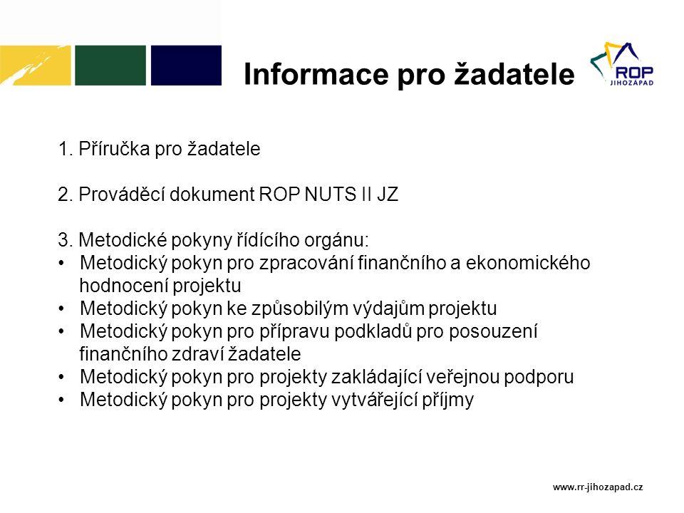 www.rr-jihozapad.cz 1. Příručka pro žadatele 2. Prováděcí dokument ROP NUTS II JZ 3. Metodické pokyny řídícího orgánu: Metodický pokyn pro zpracování