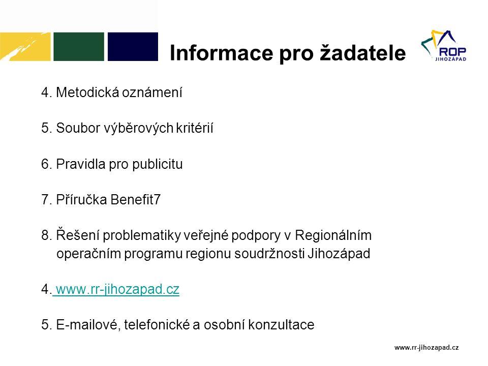 www.rr-jihozapad.cz 4. Metodická oznámení 5. Soubor výběrových kritérií 6.