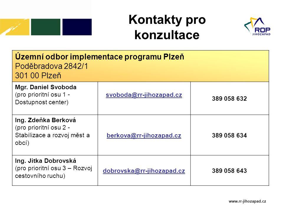 www.rr-jihozapad.cz Územní odbor implementace programu Plzeň Poděbradova 2842/1 301 00 Plzeň Mgr. Daniel Svoboda (pro prioritní osu 1 - Dostupnost cen