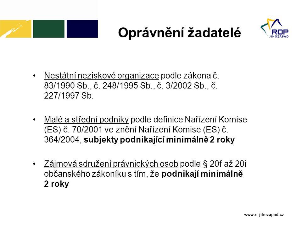 www.rr-jihozapad.cz Nestátní neziskové organizace podle zákona č. 83/1990 Sb., č. 248/1995 Sb., č. 3/2002 Sb., č. 227/1997 Sb. Malé a střední podniky