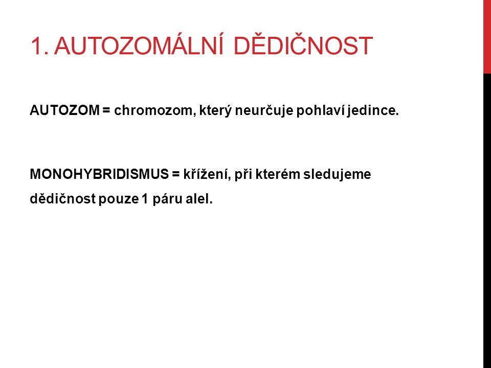 1. AUTOZOMÁLNÍ DĚDIČNOST AUTOZOM = chromozom, který neurčuje pohlaví jedince.