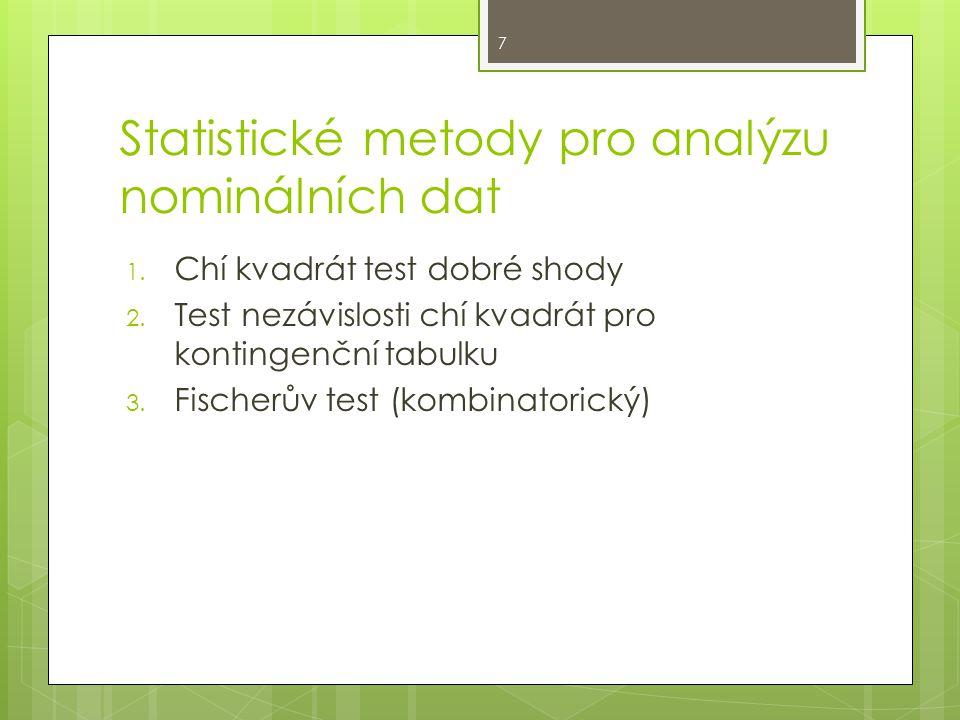 Statistické metody pro analýzu nominálních dat 1. Chí kvadrát test dobré shody 2.