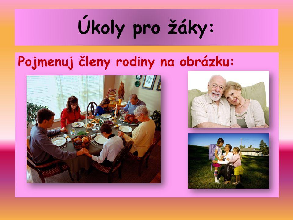Úkoly pro žáky: Pojmenuj členy rodiny na obrázku: