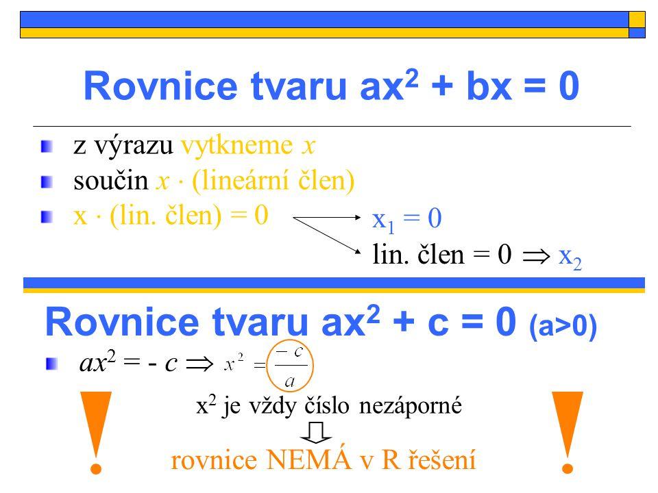 Příklad: x = 0 V R řešte rovnici Řešení: Pozor na dělení x