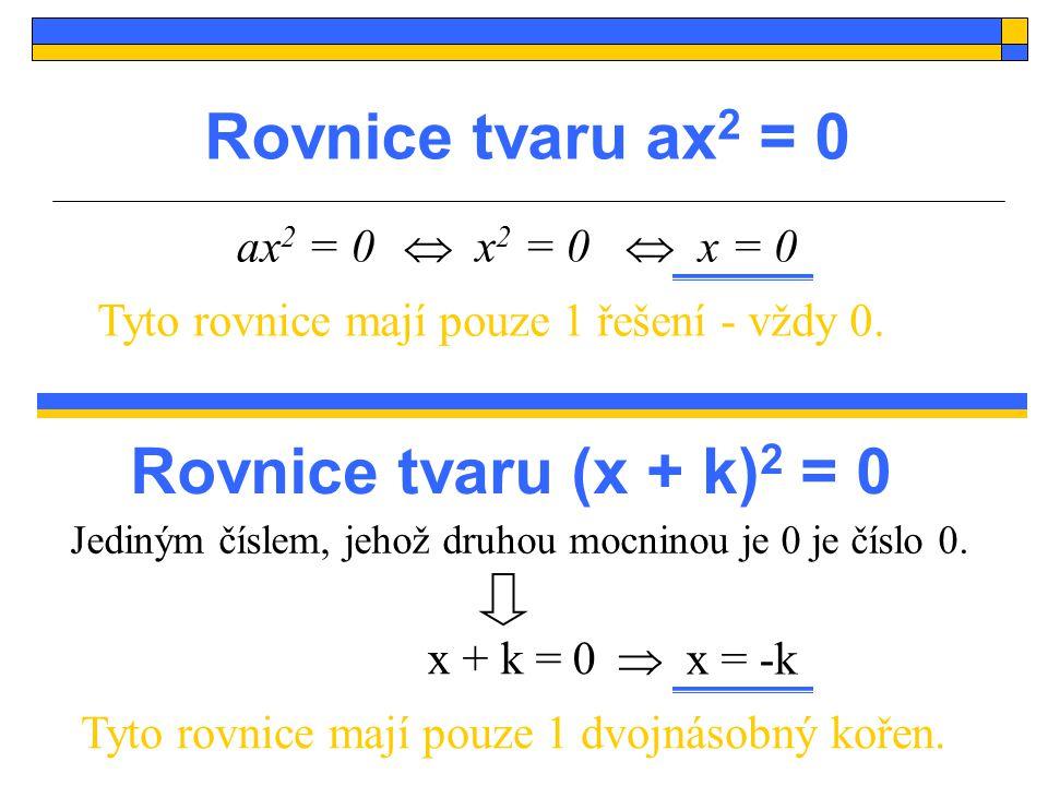 Cvičení: Příklad 1: Řešte rovnice s neznámou x: Příklad 2: Řešte početně v oboru reálných čísel: a)9x 2 = 0 b)-0,5x 2 + 3x = 0 c)x 2 – 2 = 0 a)(x – 1) 2 = 0 b)(x – 2)  (x + 1) = 0 c)(2x – 11) 2 = 0 d)(5 – 3x)  (–2x – 5) = 0 d)2x 2 + 3 = 0 e)2x 2 – 9 = 0 f)x – x 2 + 2 = 5x 2 – 2x +2 Příklad 3: Rozhodněte, pro které hodnoty parametru s má rce jediné řešení a kdy nemá žádné řešení: a) x 2 + s = 0b) sx 2 + 1 = 0c) x 2 + sx = 0