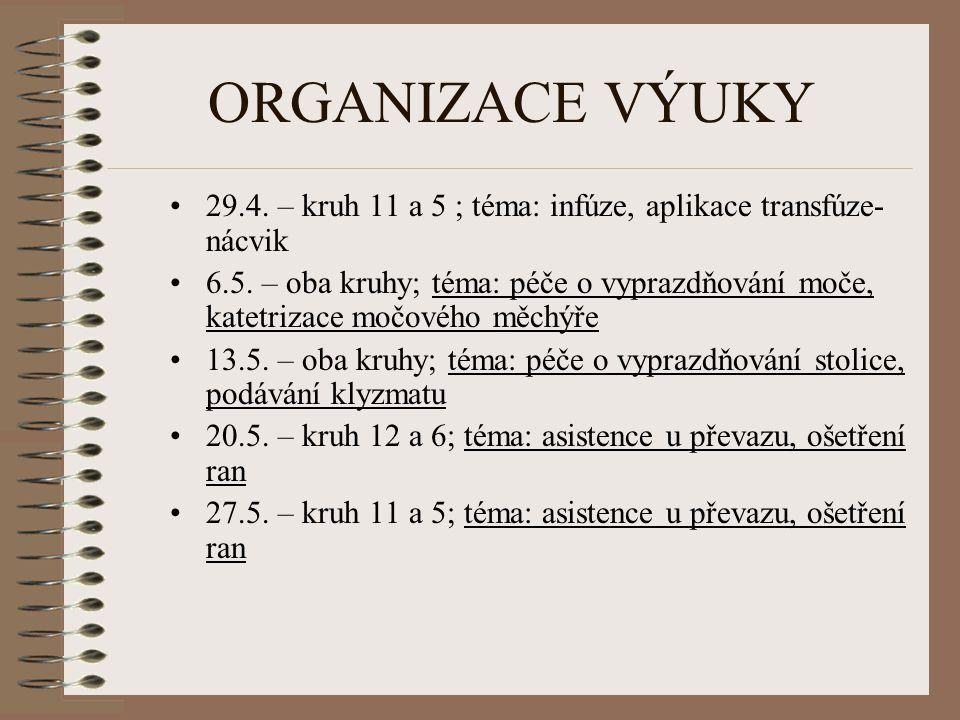 ORGANIZACE VÝUKY 29.4. – kruh 11 a 5 ; téma: infúze, aplikace transfúze- nácvik 6.5. – oba kruhy; téma: péče o vyprazdňování moče, katetrizace močovéh