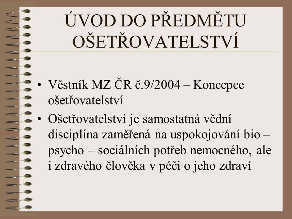 ÚVOD DO PŘEDMĚTU OŠETŘOVATELSTVÍ Věstník MZ ČR č.9/2004 – Koncepce ošetřovatelství Ošetřovatelství je samostatná vědní disciplína zaměřená na uspokojo