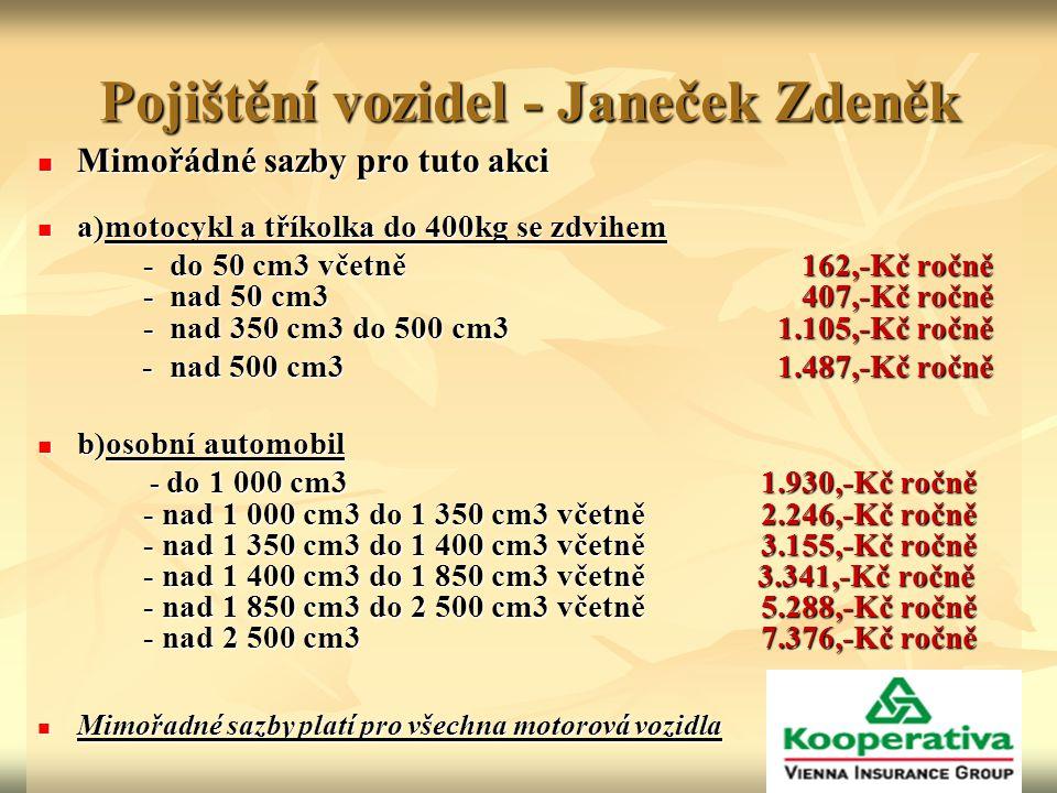 Pojištění vozidel - Janeček Zdeněk Mimořádné sazby pro tuto akci Mimořádné sazby pro tuto akci a)motocykl a tříkolka do 400kg se zdvihem a)motocykl a tříkolka do 400kg se zdvihem - do 50 cm3 včetně 162,-Kč ročně - nad 50 cm3 407,-Kč ročně - nad 350 cm3 do 500 cm3 1.105,-Kč ročně - do 50 cm3 včetně 162,-Kč ročně - nad 50 cm3 407,-Kč ročně - nad 350 cm3 do 500 cm3 1.105,-Kč ročně - nad 500 cm3 1.487,-Kč ročně - nad 500 cm3 1.487,-Kč ročně b)osobní automobil b)osobní automobil - do 1 000 cm3 1.930,-Kč ročně - nad 1 000 cm3 do 1 350 cm3 včetně 2.246,-Kč ročně - nad 1 350 cm3 do 1 400 cm3 včetně 3.155,-Kč ročně - nad 1 400 cm3 do 1 850 cm3 včetně 3.341,-Kč ročně - nad 1 850 cm3 do 2 500 cm3 včetně 5.288,-Kč ročně - nad 2 500 cm3 7.376,-Kč ročně - do 1 000 cm3 1.930,-Kč ročně - nad 1 000 cm3 do 1 350 cm3 včetně 2.246,-Kč ročně - nad 1 350 cm3 do 1 400 cm3 včetně 3.155,-Kč ročně - nad 1 400 cm3 do 1 850 cm3 včetně 3.341,-Kč ročně - nad 1 850 cm3 do 2 500 cm3 včetně 5.288,-Kč ročně - nad 2 500 cm3 7.376,-Kč ročně Mimořadné sazby platí pro všechna motorová vozidla Mimořadné sazby platí pro všechna motorová vozidla