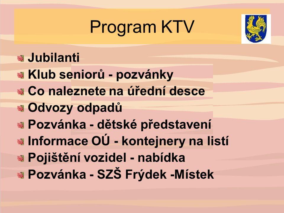 Program KTV Jubilanti Klub seniorů - pozvánky Co naleznete na úřední desce Odvozy odpadů Pozvánka - dětské představení Informace OÚ - kontejnery na listí Pojištění vozidel - nabídka Pozvánka - SZŠ Frýdek -Místek