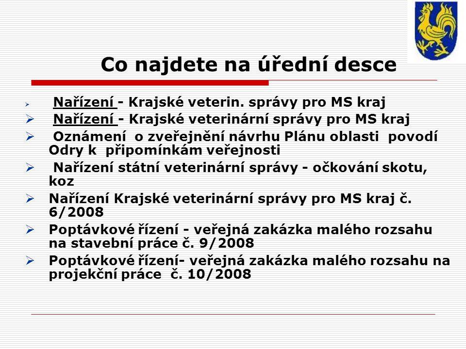 Co najdete na úřední desce  Nařízení - Krajské veterin.