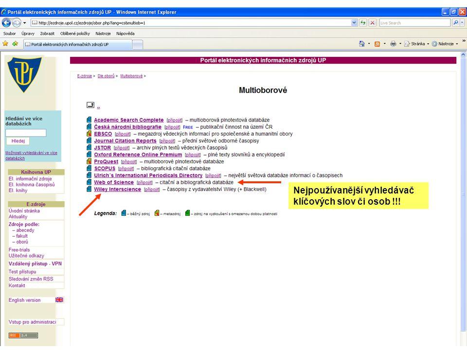 Nejpoužívanější vyhledávač klíčových slov či osob !!!
