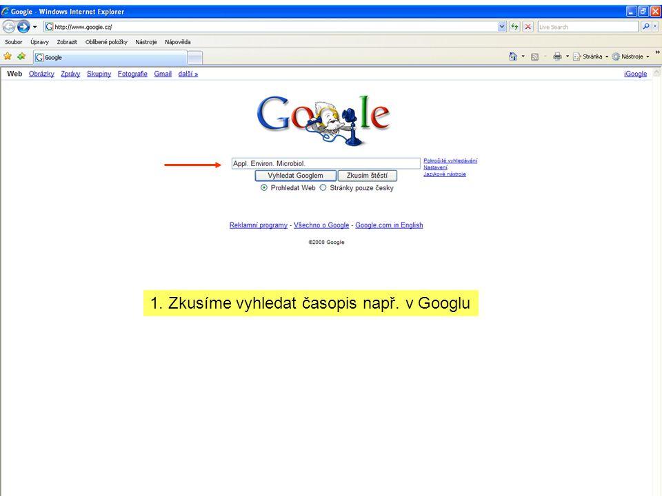 1. Zkusíme vyhledat časopis např. v Googlu