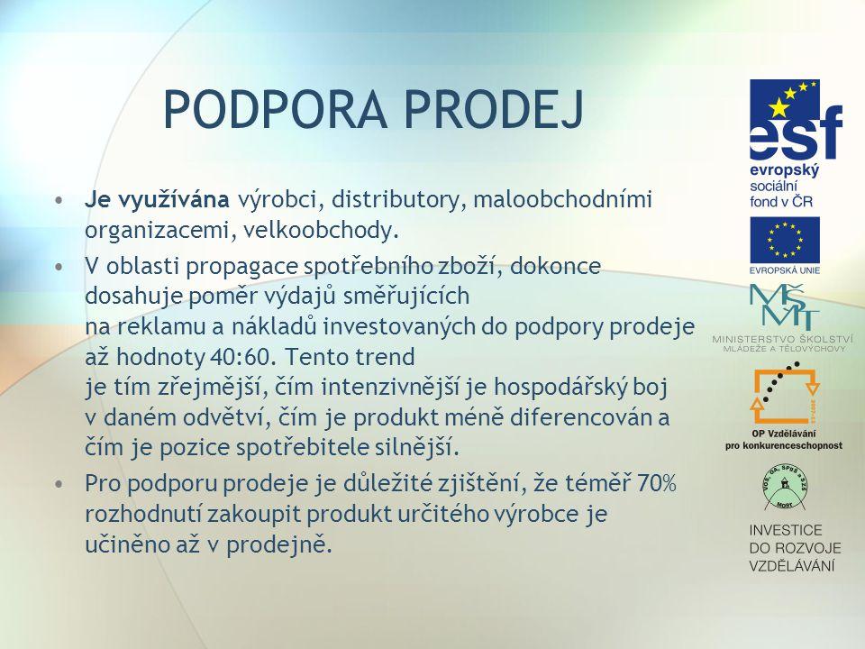 PODPORA PRODEJ Je využívána výrobci, distributory, maloobchodními organizacemi, velkoobchody. V oblasti propagace spotřebního zboží, dokonce dosahuje
