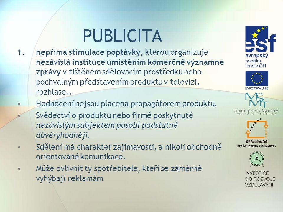 PUBLICITA 1.nepřímá stimulace poptávky, kterou organizuje nezávislá instituce umístěním komerčně významné zprávy v tištěném sdělovacím prostředku nebo
