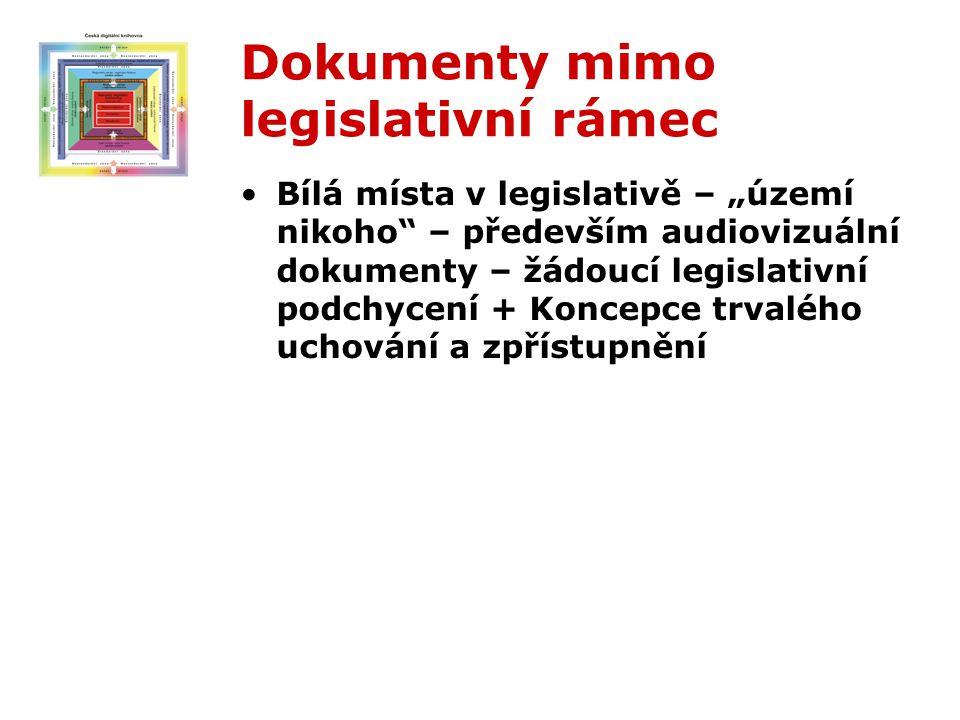 """Dokumenty mimo legislativní rámec Bílá místa v legislativě – """"území nikoho – především audiovizuální dokumenty – žádoucí legislativní podchycení + Koncepce trvalého uchování a zpřístupnění"""