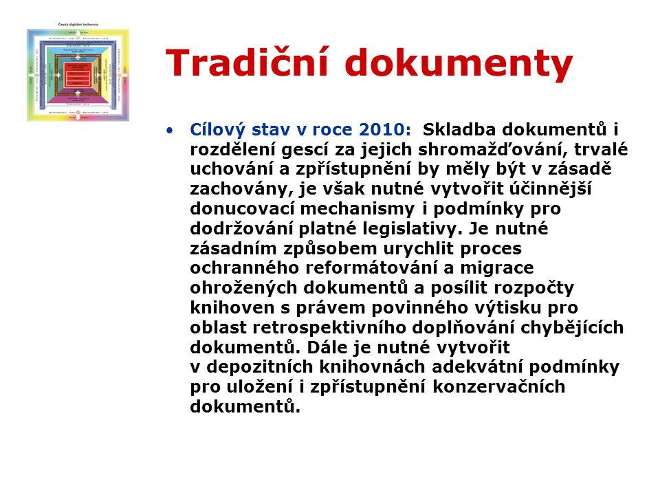 Tradiční dokumenty Cílový stav v roce 2010: Skladba dokumentů i rozdělení gescí za jejich shromažďování, trvalé uchování a zpřístupnění by měly být v zásadě zachovány, je však nutné vytvořit účinnější donucovací mechanismy i podmínky pro dodržování platné legislativy.