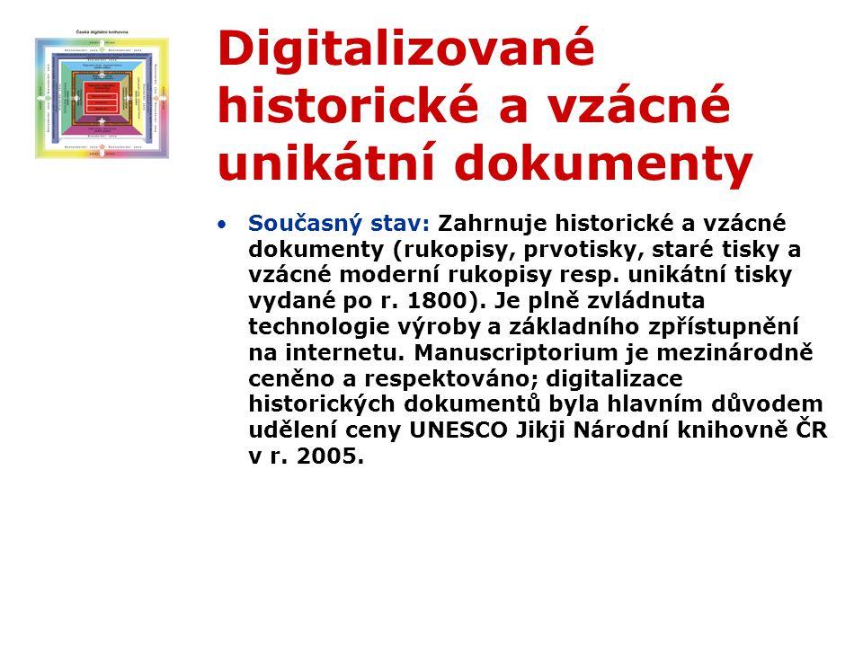 Digitalizované historické a vzácné unikátní dokumenty Současný stav: Zahrnuje historické a vzácné dokumenty (rukopisy, prvotisky, staré tisky a vzácné moderní rukopisy resp.
